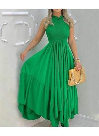 BLACK&GRACE Bayan Yeşil  Full Gıpelı Altı Capraz Elbise Yeşil